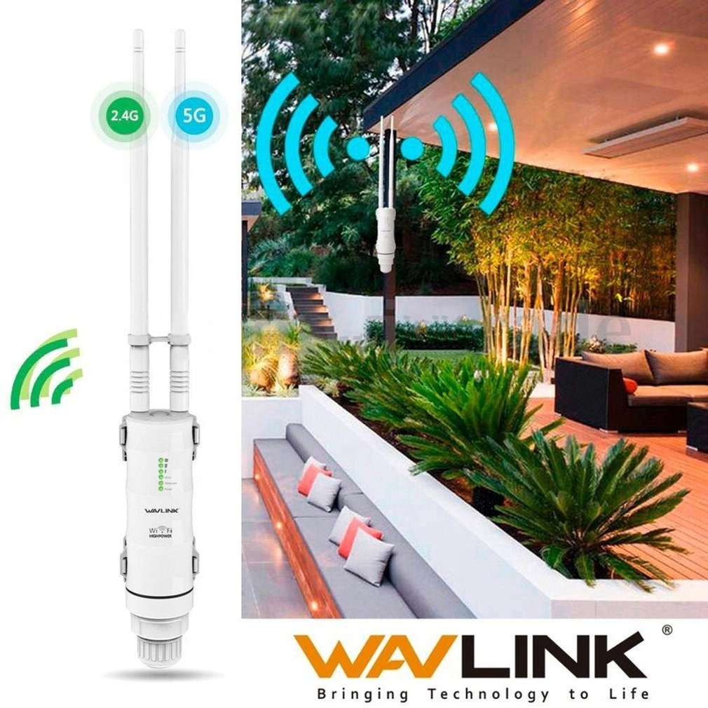 Wavlink Outdoor Wifi Router AC600 High Power 2.4G 150Mbps + 5GHz 433Mbps Wireless AP Repeater Waterproof Wifi Extender