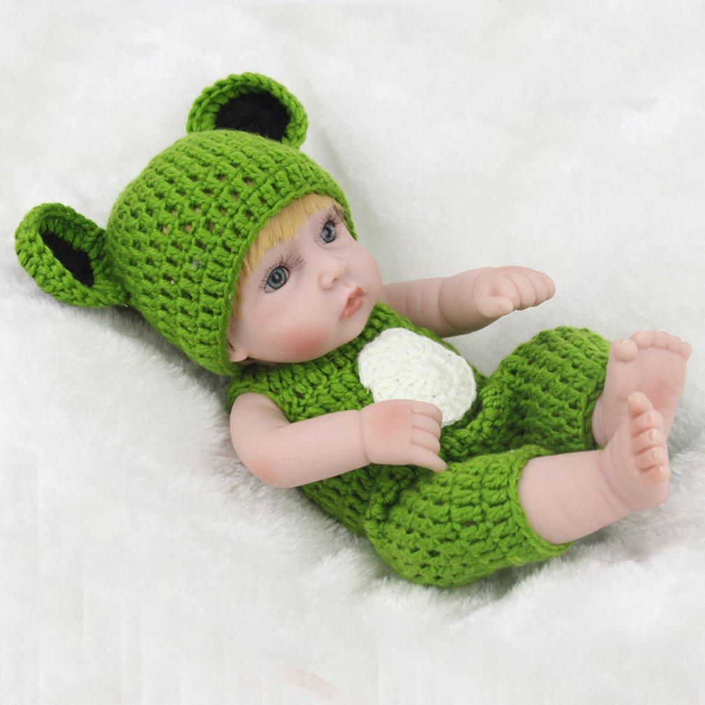 28cm Baby Doll Yellow Hair Eco-friendly Silicone Boy Doll With Frog Bodysuit
