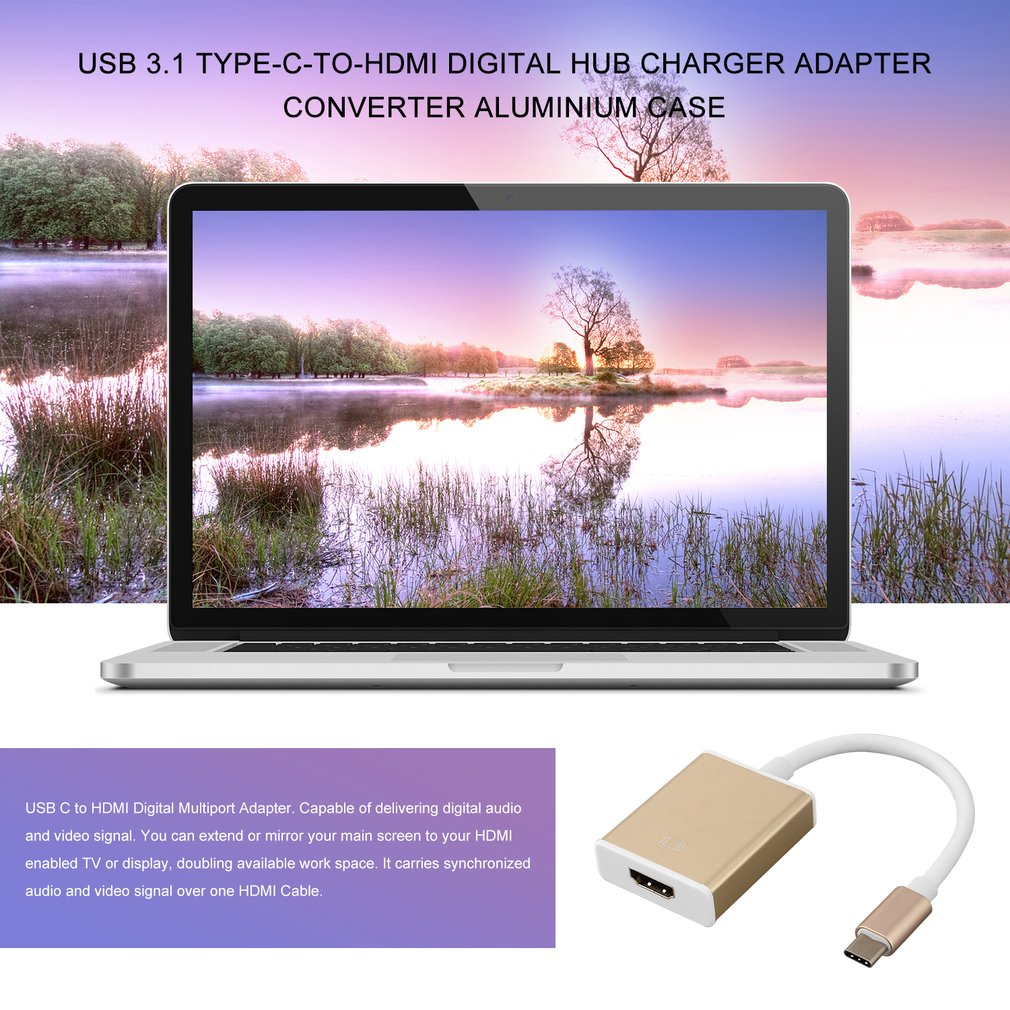 USB 3.1 Type-C-to-HDMI Digital Hub Charger Adapter Converter Aluminium Case