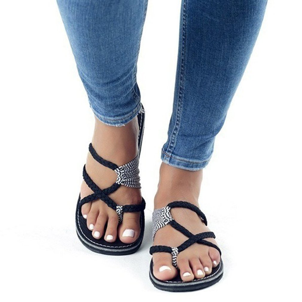 Unique Knot Summer Sandals Slip-on Slippers Women Casual Wear Shoes Anti-slip