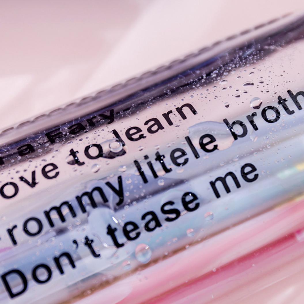 Cute Letters Print Transparent Zipper Pencil Case Pen Stationery Storage Bag