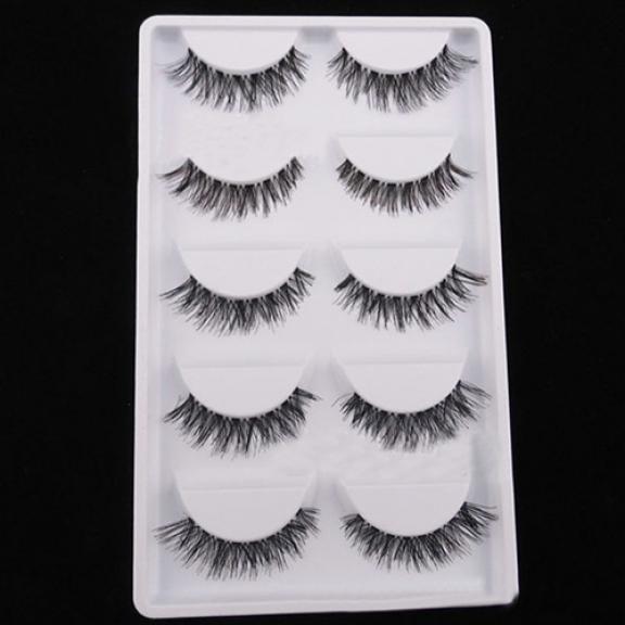 5 Pairs/Lot Black Cross False Eyelash Soft Long Makeup Eye Lashes Extensions