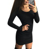 European and American fashion hot simple long-sleeved dress