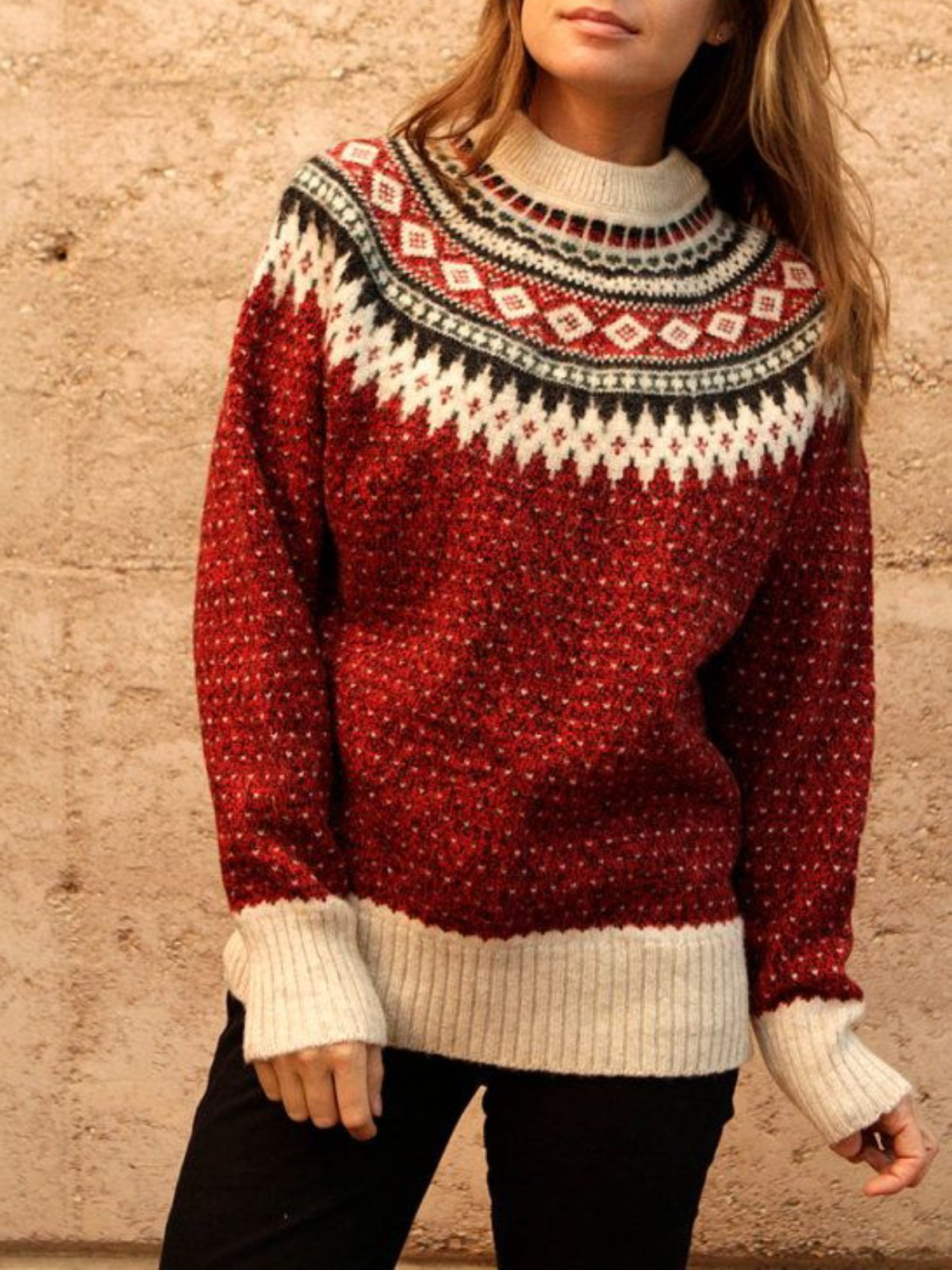 Red Patchwork Vintage Long Sleeve plus size Sweater