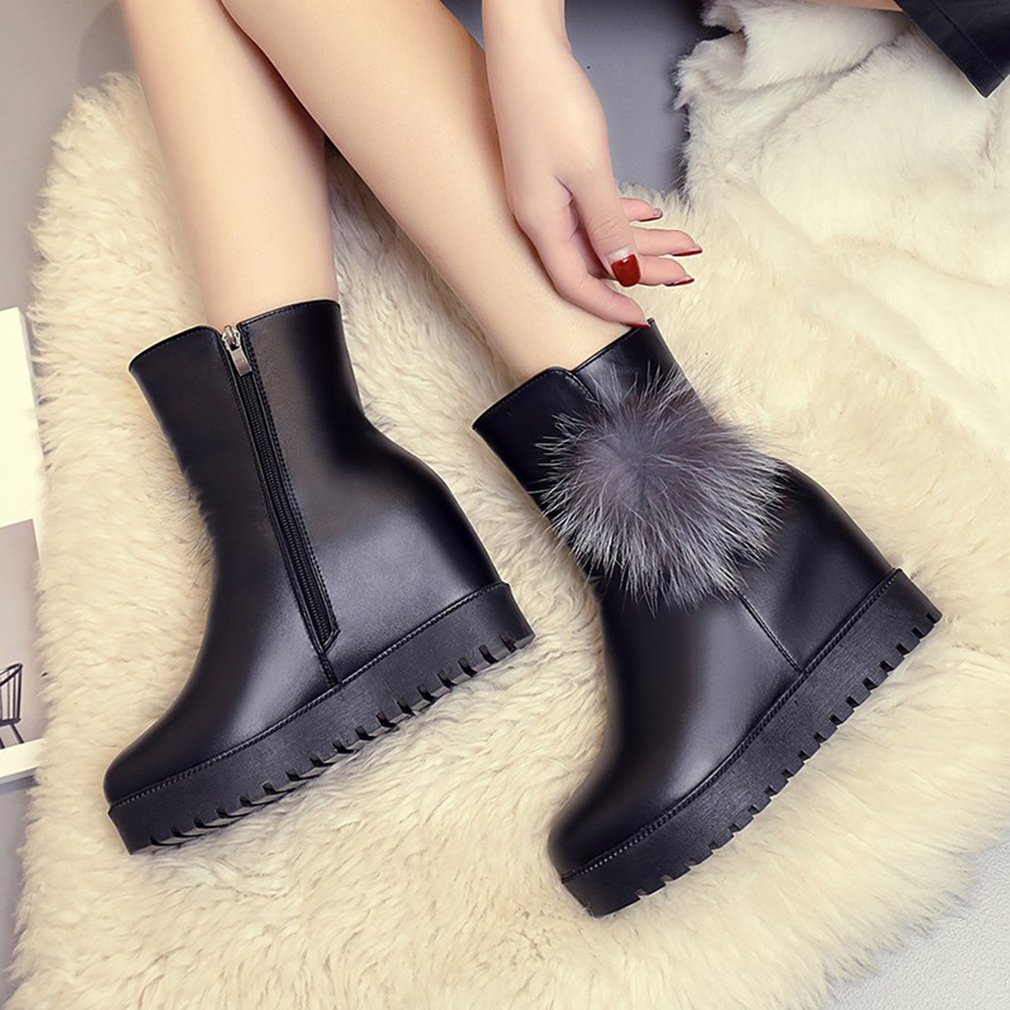 Fashion Women Slope Martin Boots Round Head Zipper Boots Winter Ladies Shoes