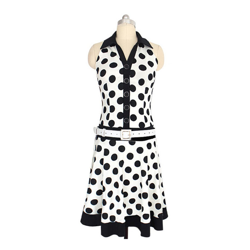 Trendy Female Dress Turndown Collar Sleeveless Dress Dots Printing Elegant Fashion Party Dress with Leather Strap