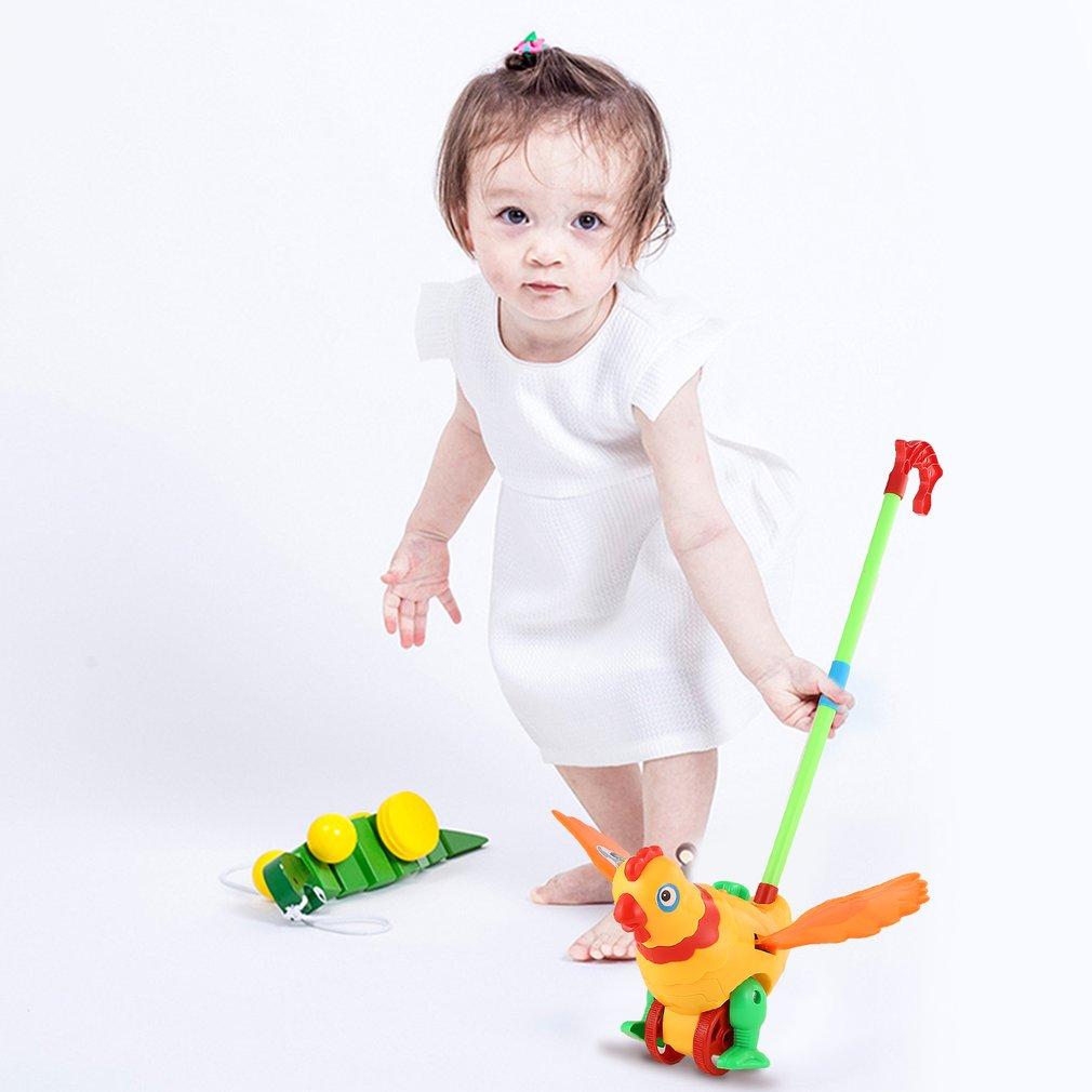 Hand Push Animal Toy Hen Shaped Cartoon Cart Toys Baby/Toddler/Child Walking