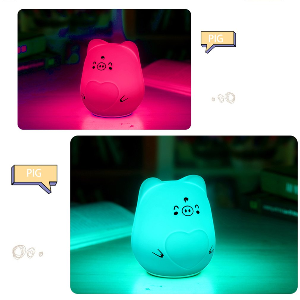 Cartoon USB Rechargeable LED Night Light Silicone 7 Colors Nursery Lamp