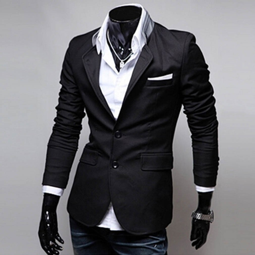 New Men's Double Collar Solid Color Casual Striped Two Button Suit Coat Jacket
