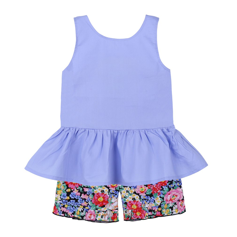 Children Girls Summer Bowknot Sleeveless Vest Top With Floral Shorts Pants
