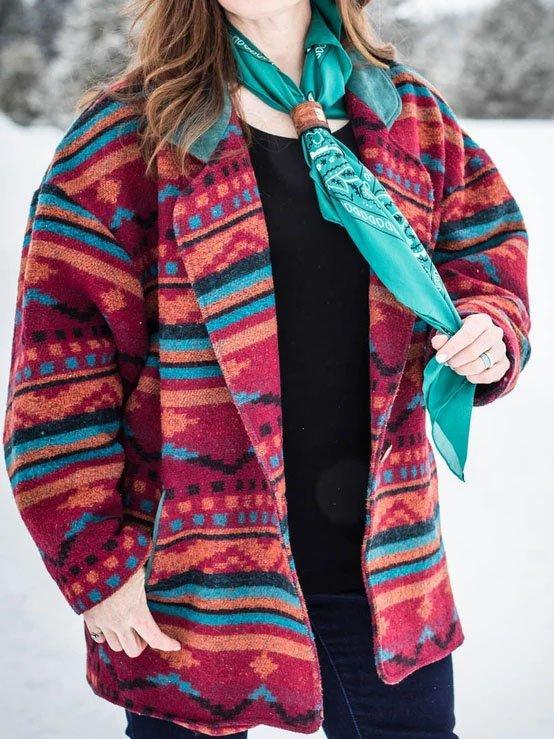 Color Long Sleeve Geometric Outerwear