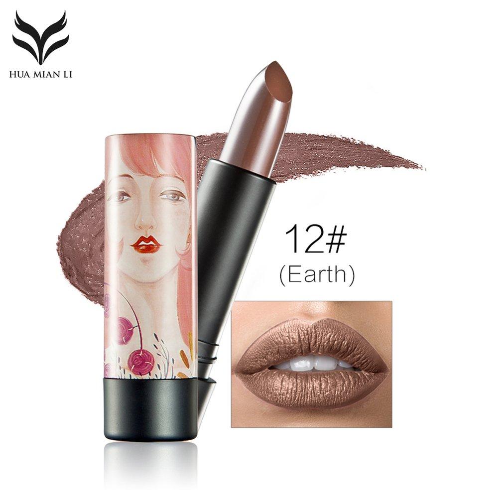 HUAMIANLI Portable Size Women Shiny Color Lipstick Natural Makeup Lip Stick