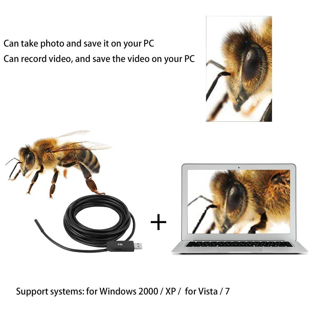 5M 5.5mm Lens USB Inspection Mini Camera Snake Tube IP67 Waterproof Endoscope