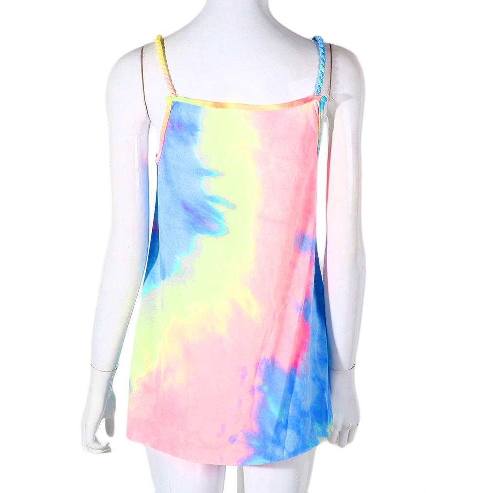 Fashion Summer Women O-neck Sleeveless Loose Sexy Beach Dress Tie-dyed Dress