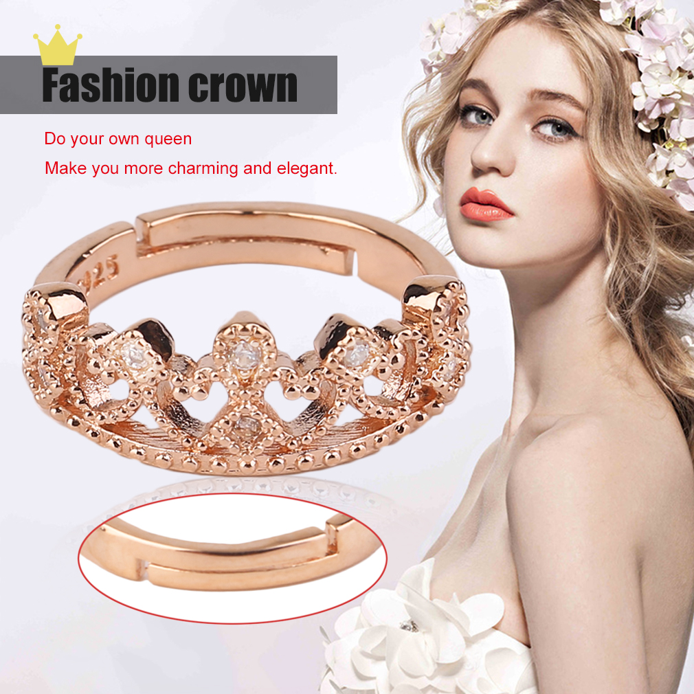 Women Party Engagement Ring Electroplated Copper Crown Decoration Club Ring