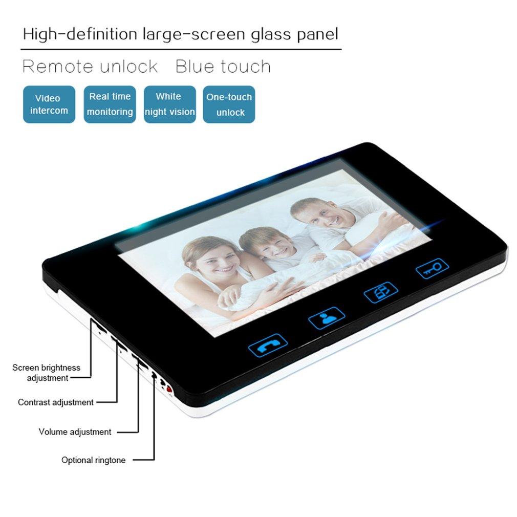 Saful 7 inch Wireless Fingerprint Video Doorbell Intercom Digital Phone System