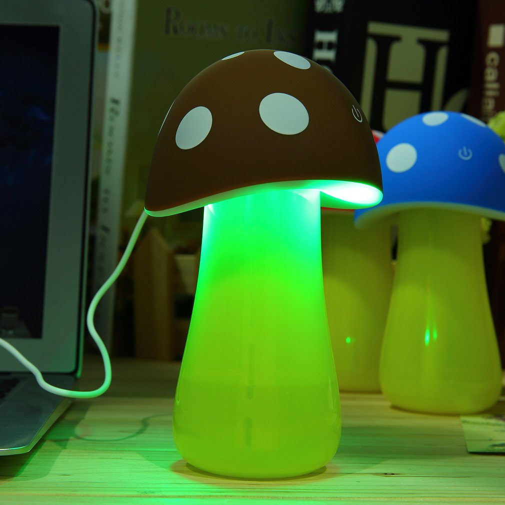 Home Office Summer Aroma LED Humidifier Mushroom Air Diffuser Purifier Atomizer