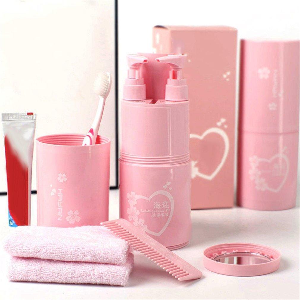 Travel Kit Wash Cup Shampoo Bath Cream Storage Portable Comb Mirror Sets