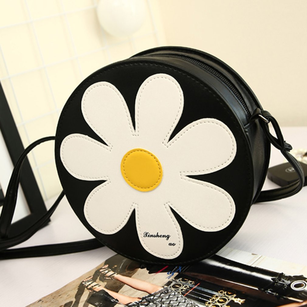 Small Size Round Shape Sunflower Women Soft PU Leather Chest Bag Messenger Bag