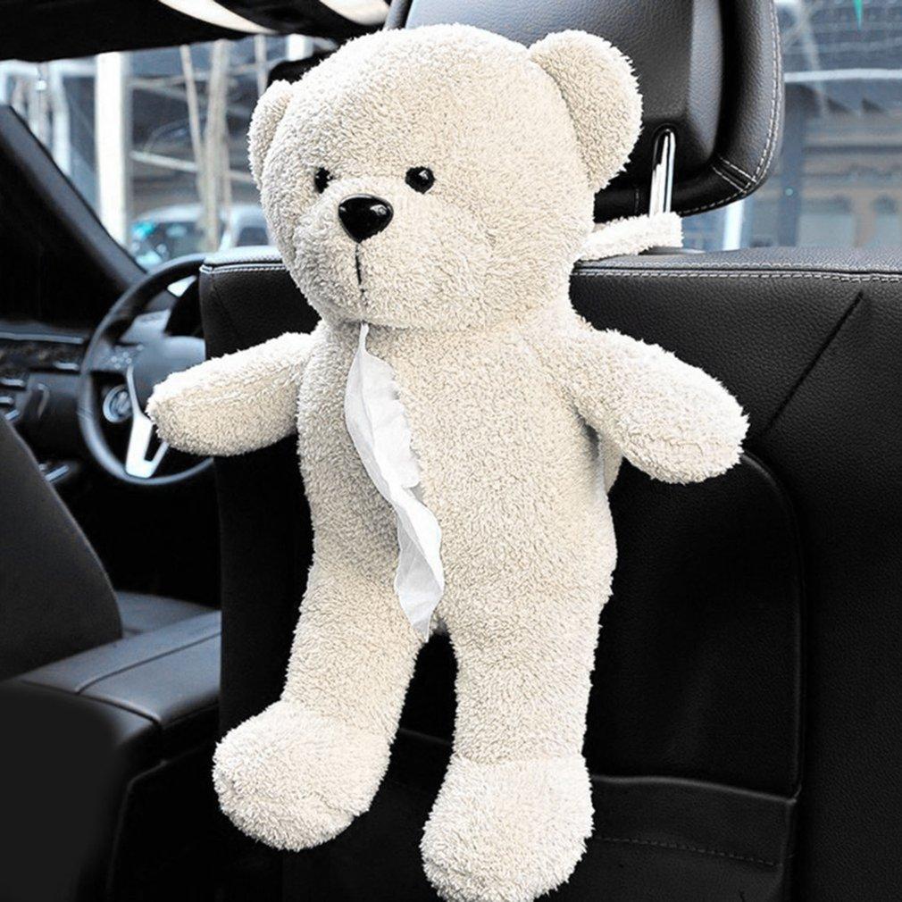 Car Back Seat Hanging Tissue Bag Teddy Bear Shape Hanging Bag for Paper Towel