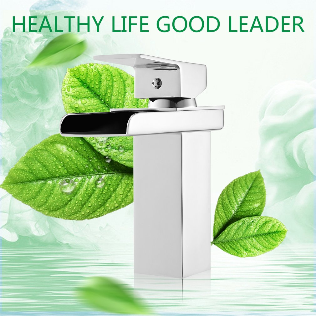 Waterfall Design Faucet Bathroom Toilet Wash Basin Sink Single Hole Faucet