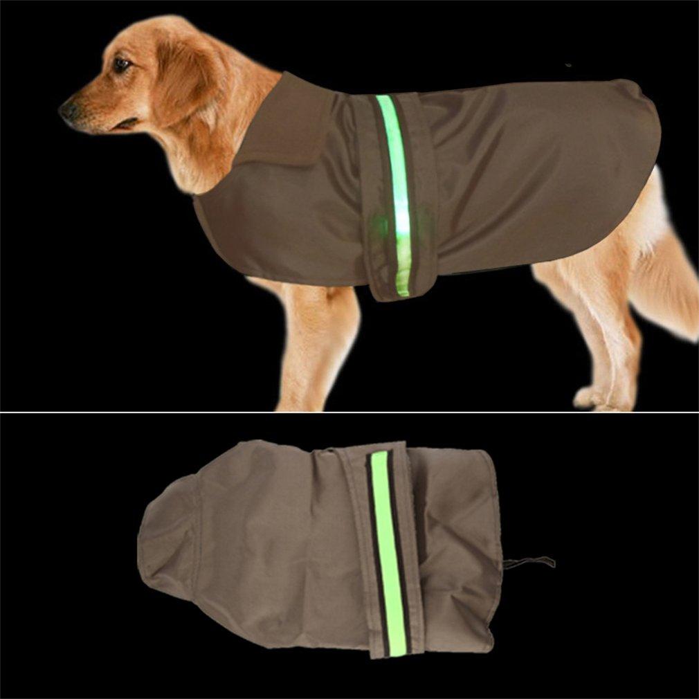 New Water Resistance Nylon Dog Clothes Dog Jacket with LED Light Bar
