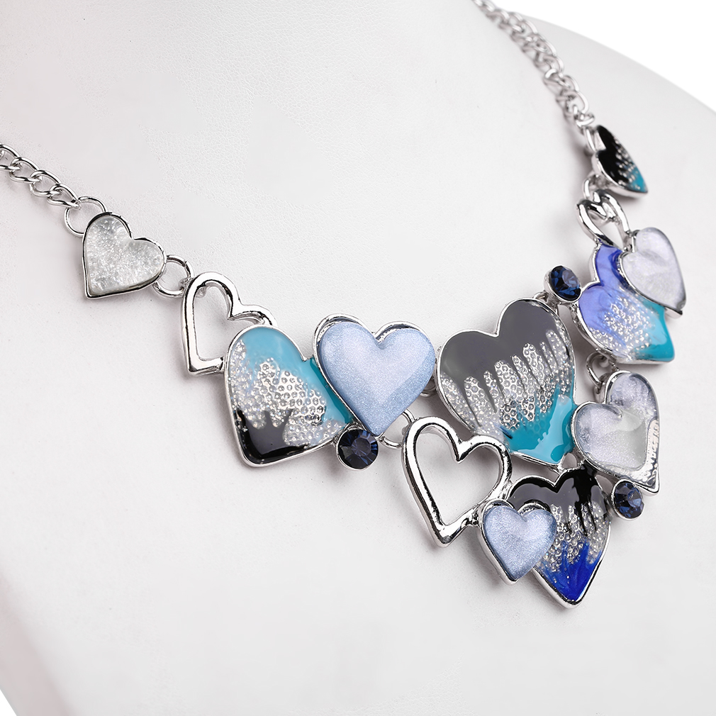 Lovely  Sweet Heart Shape Necklace Set Women Necklace Stud Earings Jewelry Set