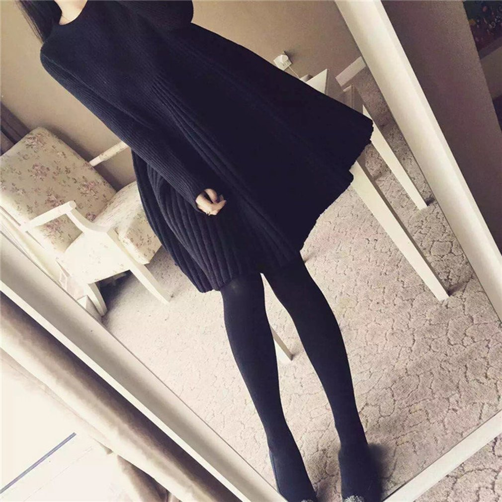 Solid Color Long Section Knitting Sweater Long-sleeved A-line Dress for Women