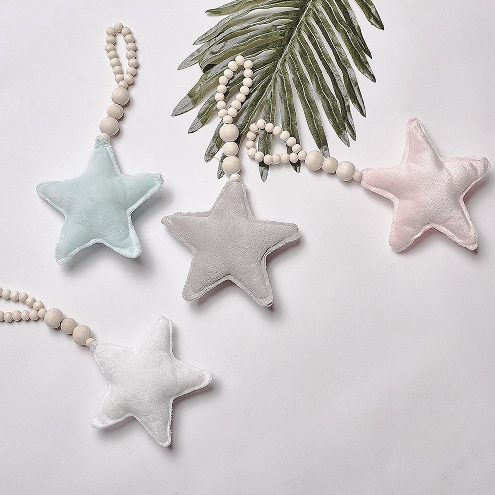Nordic Style Wooden Beads Ornament Star Shape Wall Hanging Photography Props