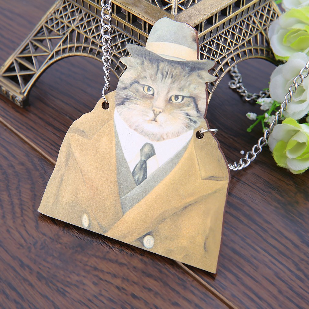 Cute Wooden Cat Wearing Clothes Pendant Alloy Necklace Dress Sweather Chain
