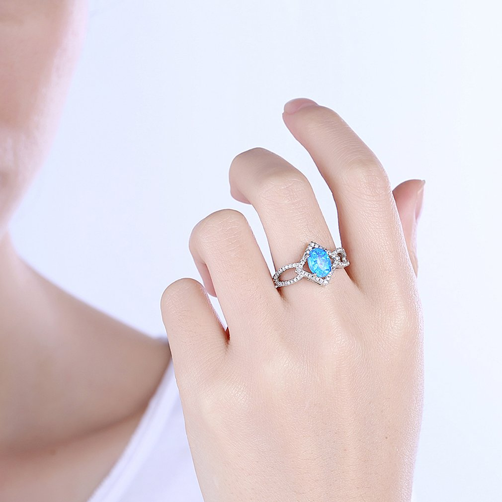 Women's Diamond Shape Ring, Silver and Blue