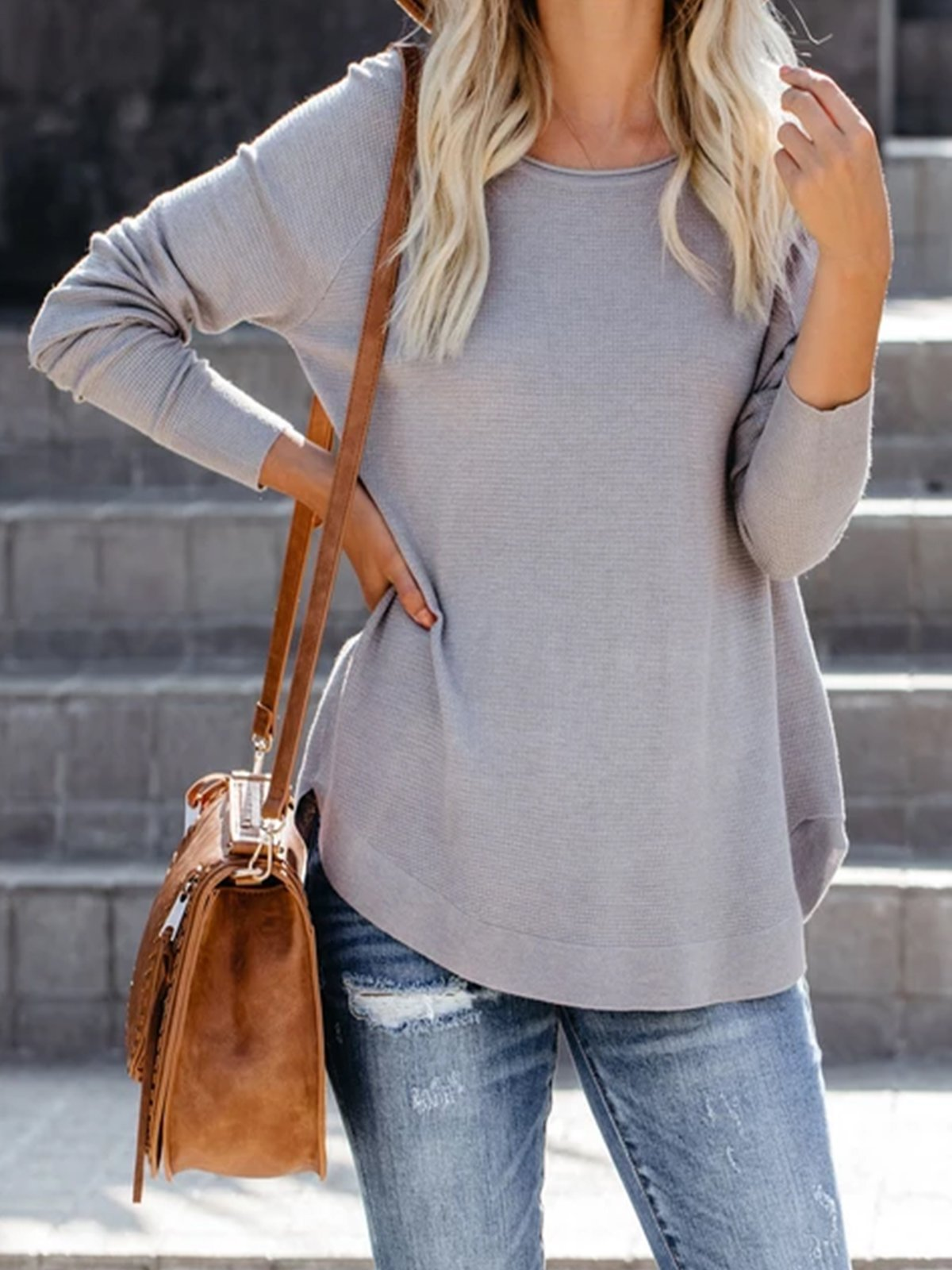 Grey Knitted Long Sleeve Solid plus size Sweater