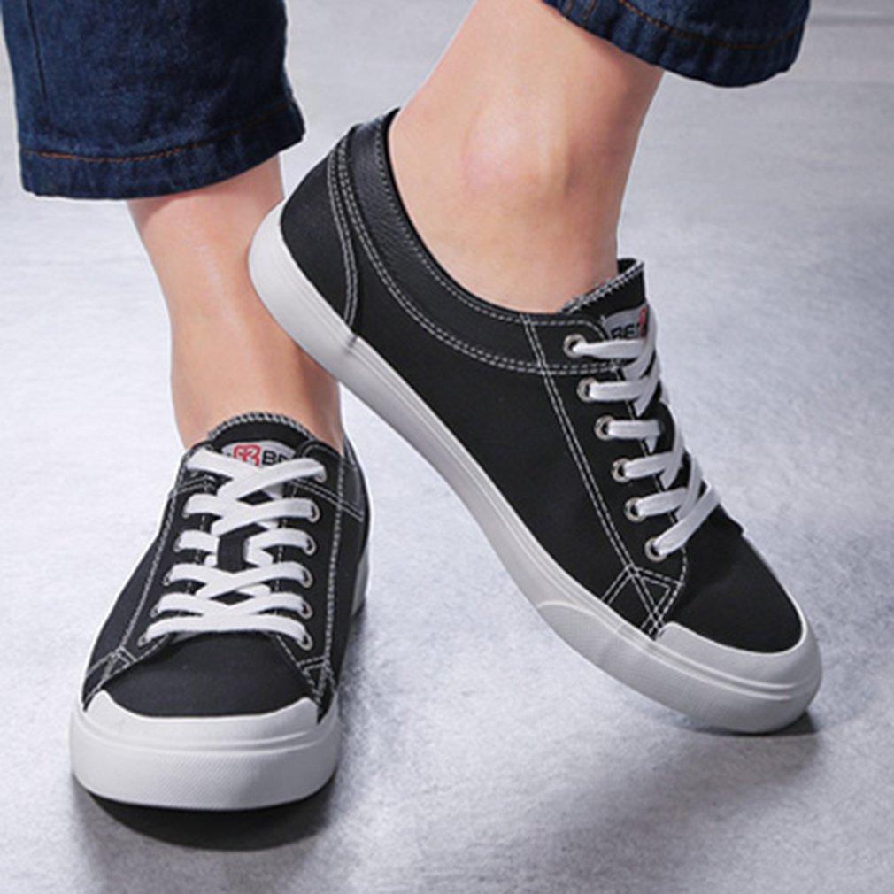 Renben 7569 Men Solid Color Low-cut Flat Shoes Breathable Lace Up Casual Shoes