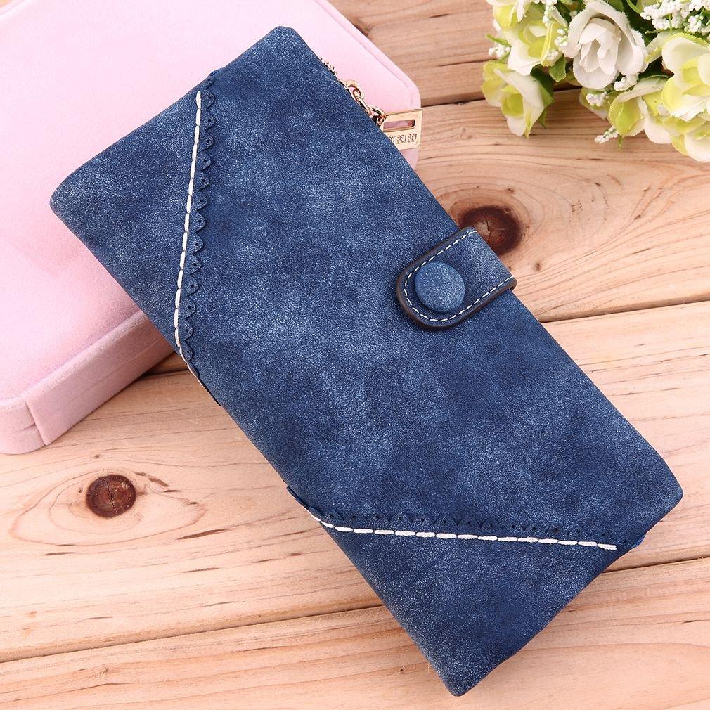 Women Vintage PU Lace Decorative Border Buckle Clasp Matte Long Card Wallet