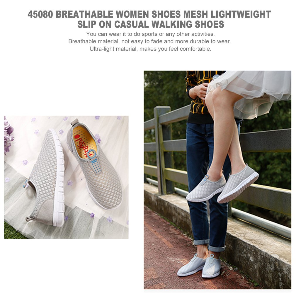 45080 Breathable Women Shoes Mesh Lightweight Slip On Casual Walking Shoes