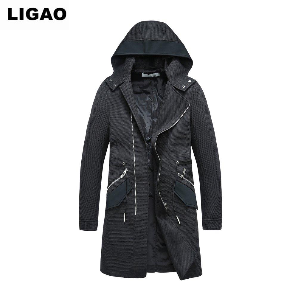 LIGAO Men Windbreaker Long Type Fashion Coat Hooded Hoodies Zipper Overcoat