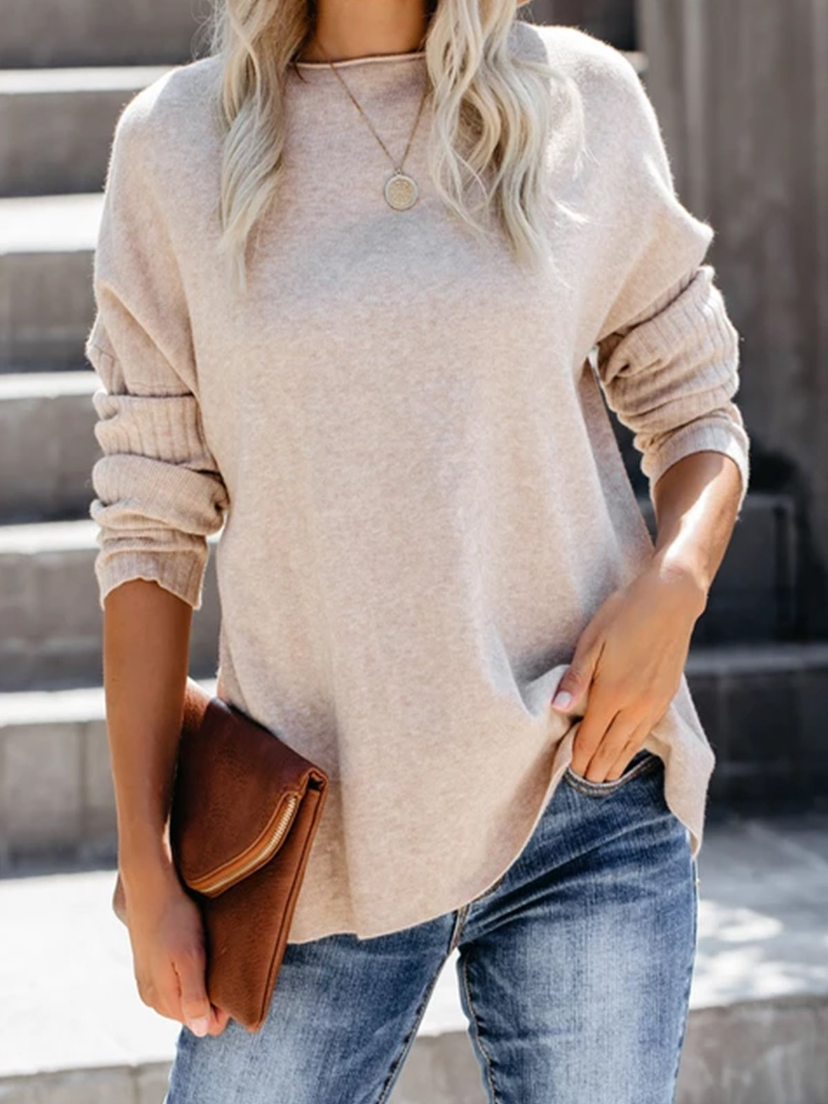 Apricot Solid Knitted Long Sleeve plus size Sweater