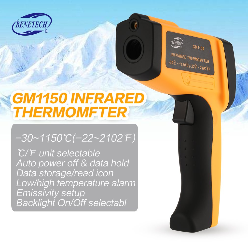 BENETECH GM1150 LCD Non-Contact IR Laser Infrared Temperature Thermometer Gun