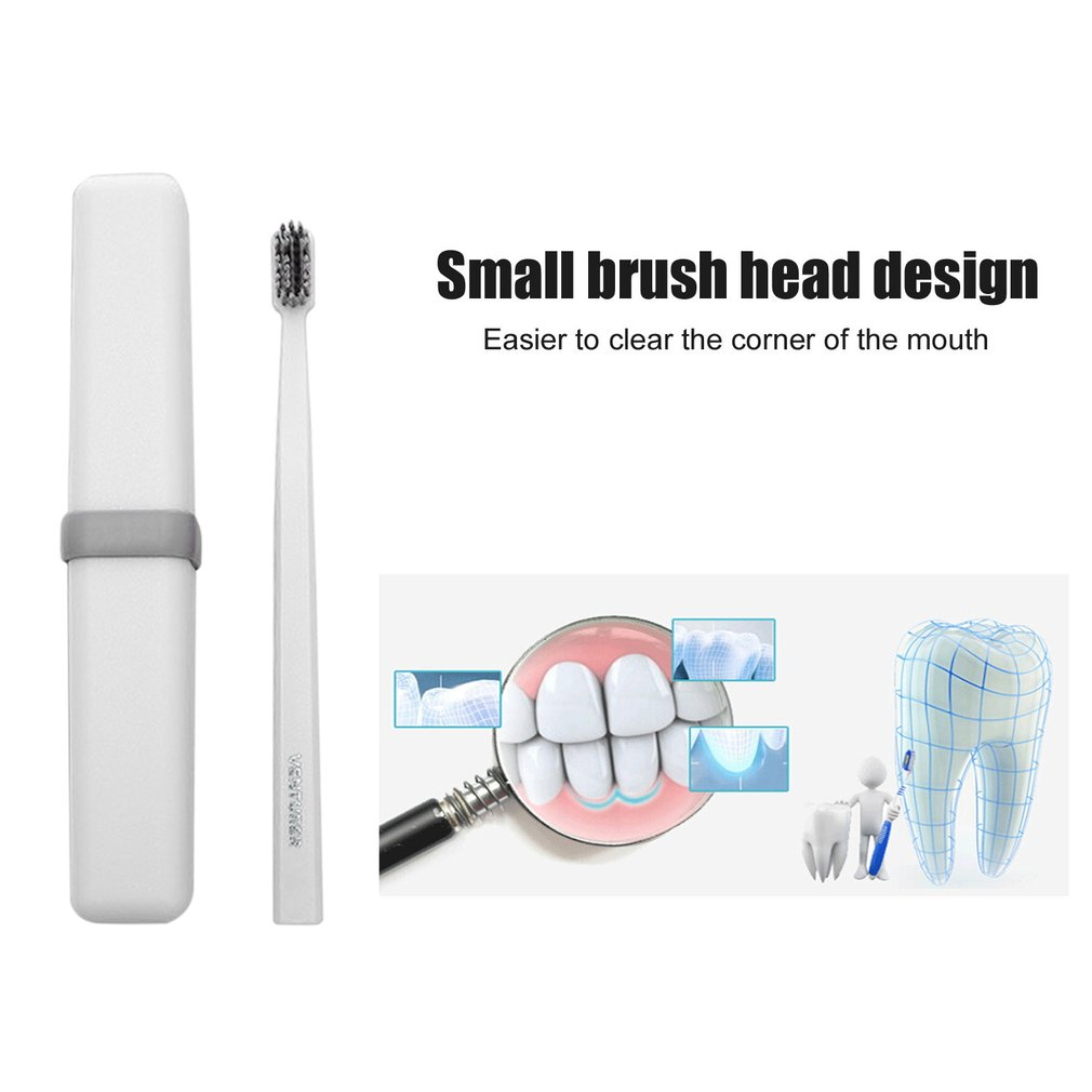 Compact Size Travel Toothbrush Adult Soft Hair Bamboo Charcoal Oral Care Antibacterial Toothbrush With Storage Box