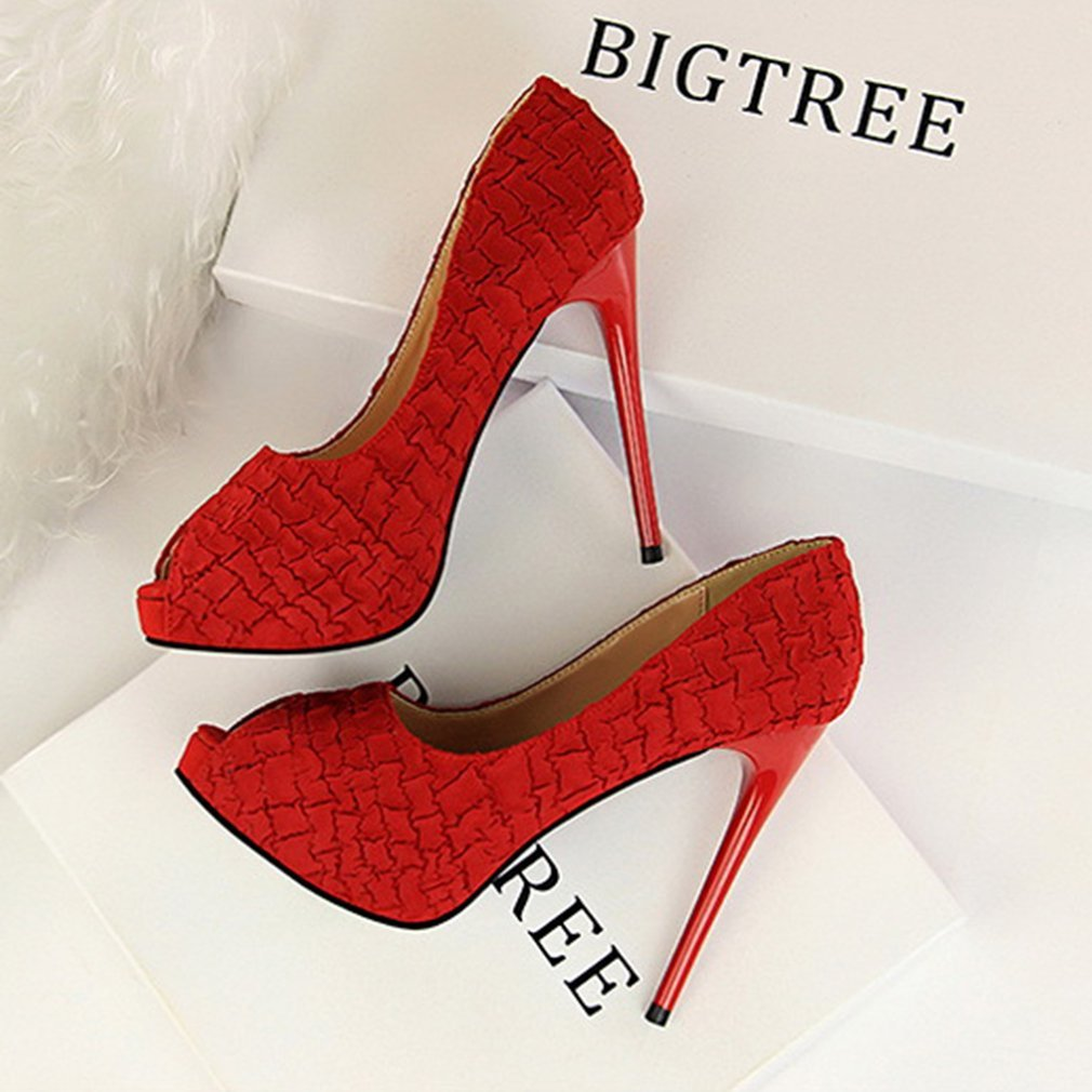 Elegant Peep Toe Women High Heels Shoes Stone Pattern Pumps Attractive Female Thin Heel Shoes Sexy Pub Party Lady Shoes