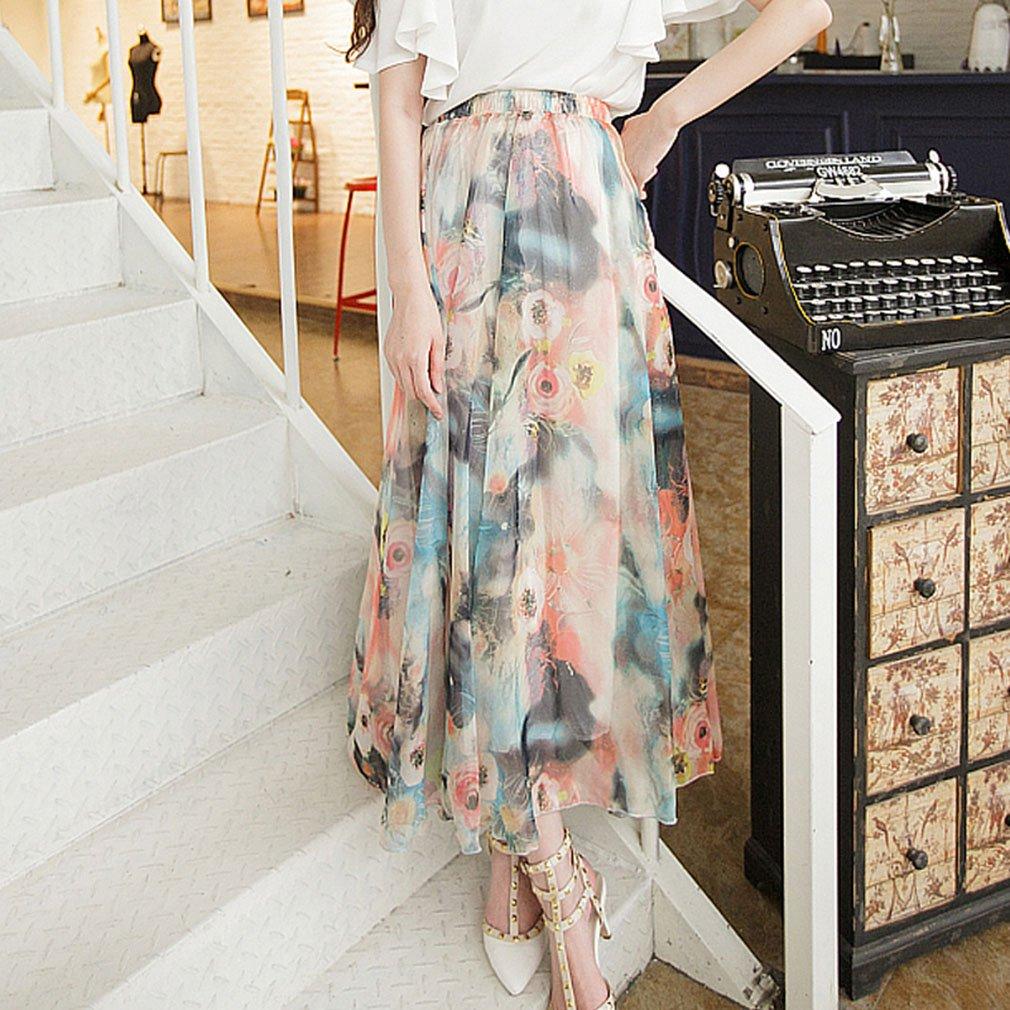 Women White Bohemian Long Dress Boho Printed Summer Beach Skirt Floral Bottom