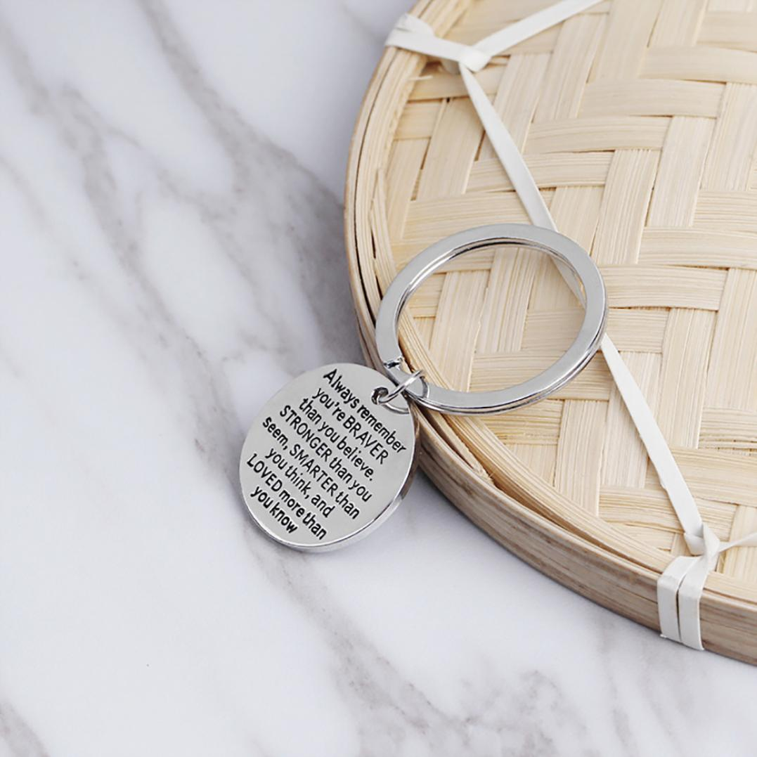 Always Remember You Are Braver Round Pendant Key Ring Inspirational Keychain
