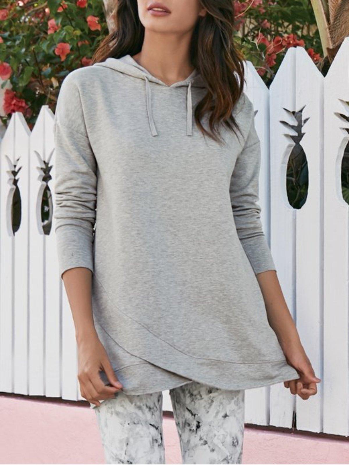 Grey Asymmetrical Casual plus size tops