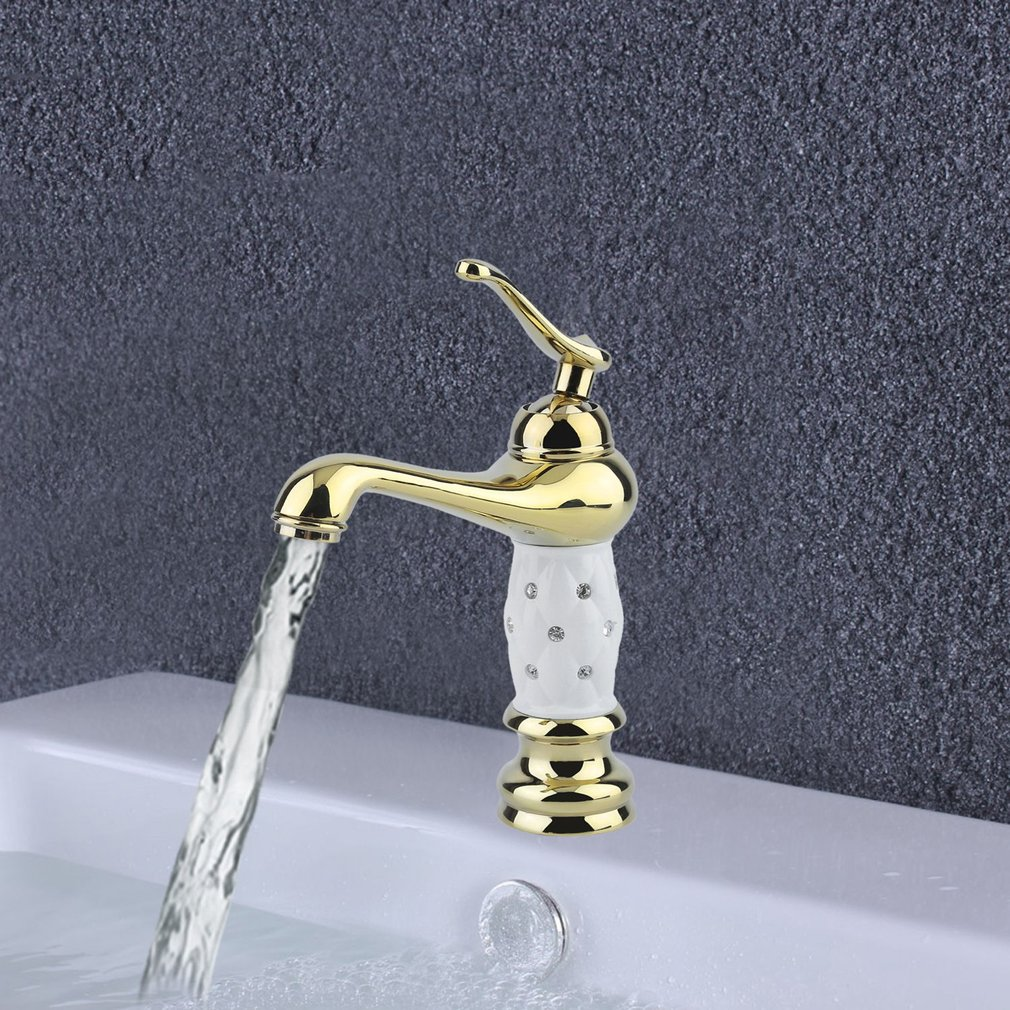 Bathroom Faucet Brass With Diamond Crystal Body Single Handle Mixer Water Tap
