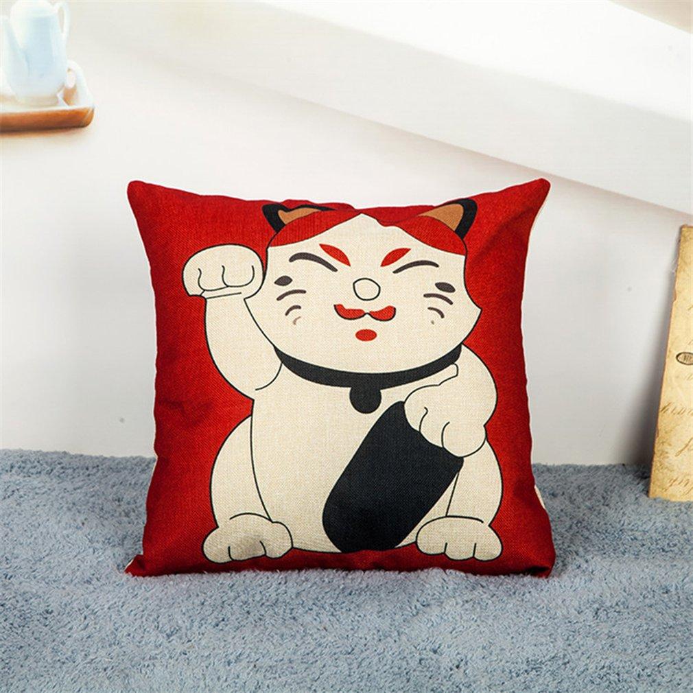 Linen Pillow Case Animal Flower Pattern Car Throw Pillow Cover Sofa Home Decor