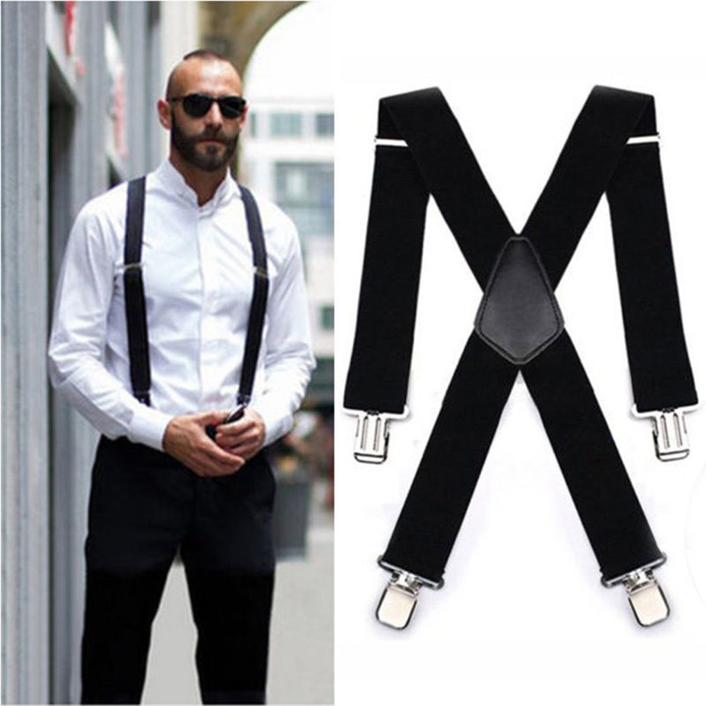 120x5CM Black Men Suspender Straps Four Clips Adults Extended Elastic Trousers Straps Adjustable Business Suspender
