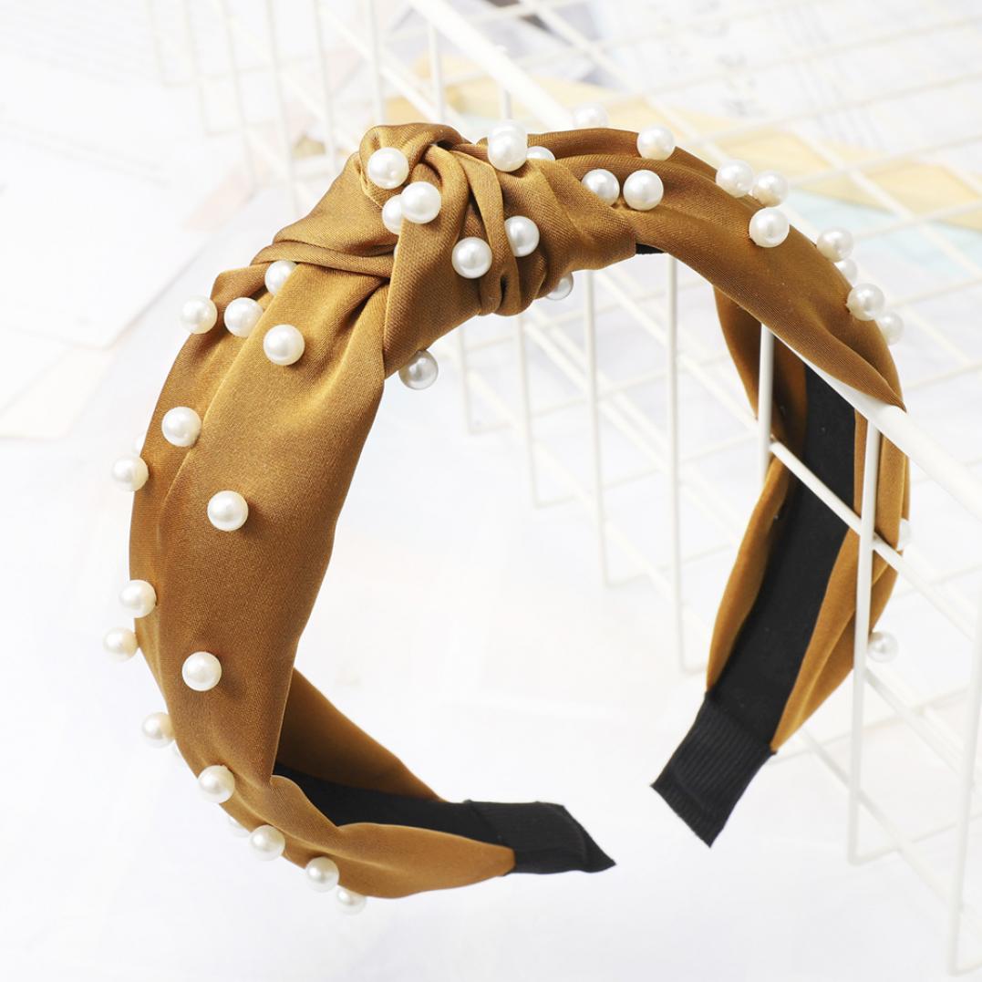 Women's Faux Pearl Beading Twist Knotted Headband