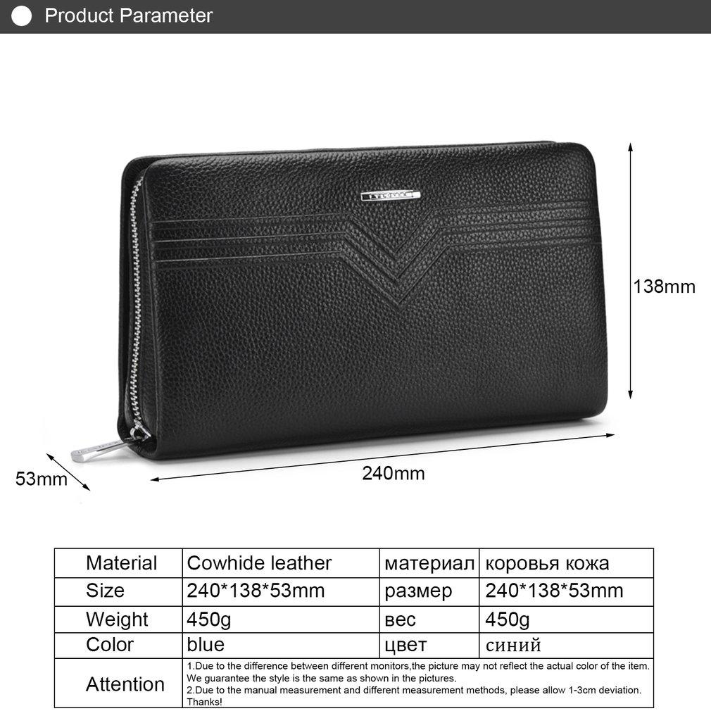 PLOVER GD6910-A Business Men Zipper Long Wallet Purse Cow Leather Clutch Bag