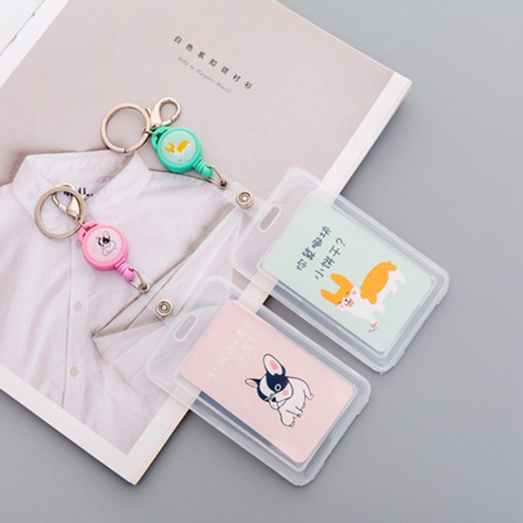 Cartoon Dog Girl Print ID Badge Bus Card Holder Pendant Keychain Key Ring Gift