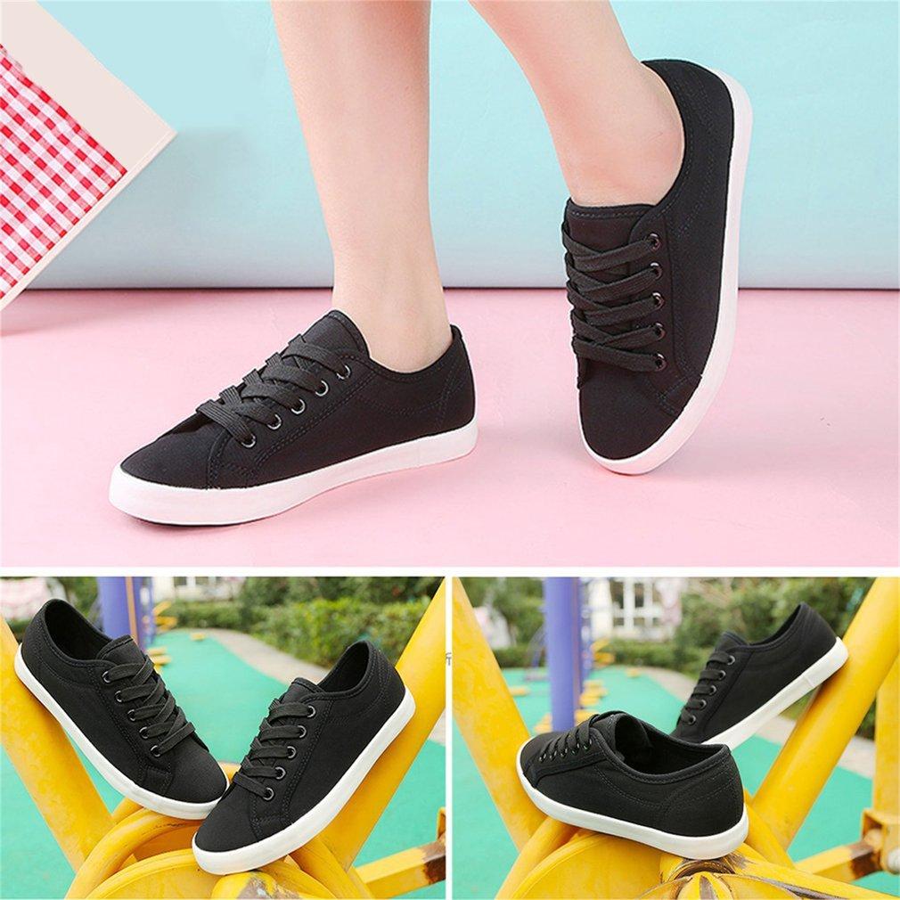 Renben Spring Summer Women Thick Platform Flat Shoes Lace-Up Canvas Shoes